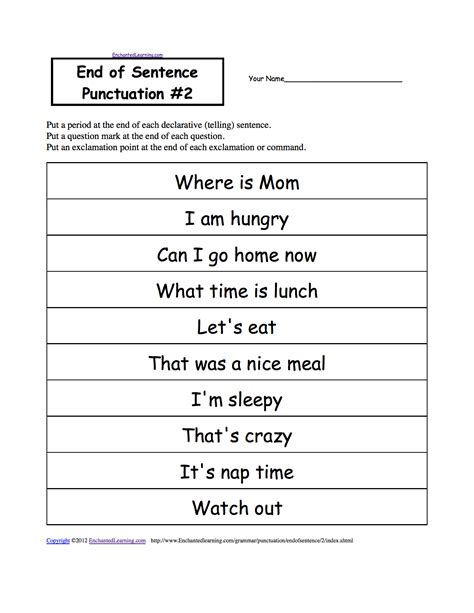 punctuation worksheets grade 4 with answers end of sentence punctuation printable worksheets enchantedlearning