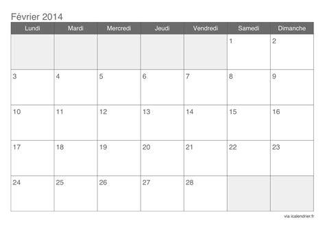 Calendrier Fevrier 2014 Calendrier F 233 Vrier 2015 224 Imprimer Icalendrier Fr