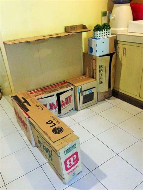 Cardboard Kitchen by This Upcycled Cardboard Boxes Into A Mini Kitchen For