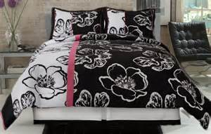 Comforter set fun floral black and white comfort set with a splash of