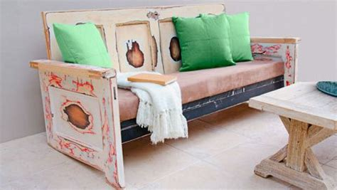 how to make a bench cushion with staple gun how to make a outdoor seat from old doors this uniquely