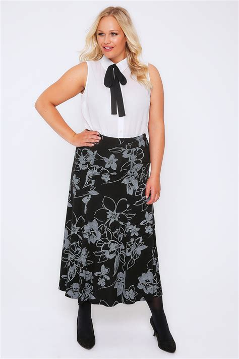 pattern for jersey maxi skirt grey black floral print jersey maxi skirt with panel