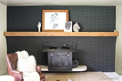 remodelaholic easy wood mantel  brick fireplace