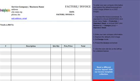basic service invoice template in french