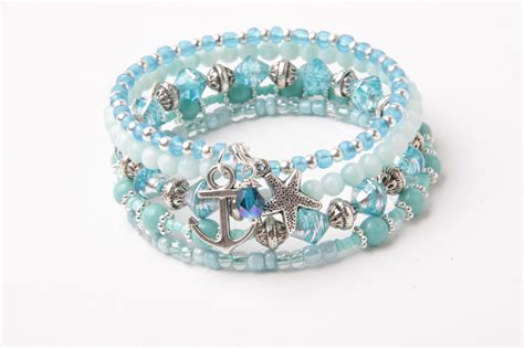 Memory Wire Bracelet, Wrap Bracelet, Starfish Bracelet, Aqua Blue And Mint Green, Stack Bracelet
