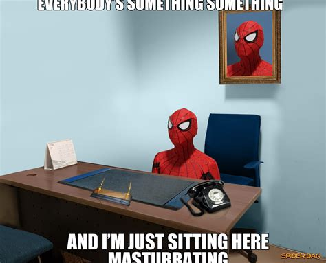 Sitting Here Meme - spider man sitting here masturbating 60 s spider man