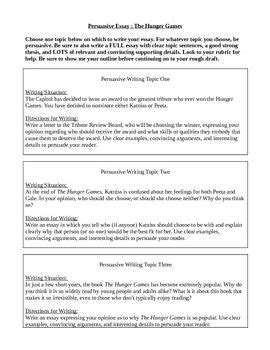 Five Paragraph Essay Hunger by Hunger Persuasive Essay Assignment Sheet And