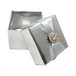 Silver Wedding Favor Boxes by Embellished Wedding Favor Box In Metallic Silver With