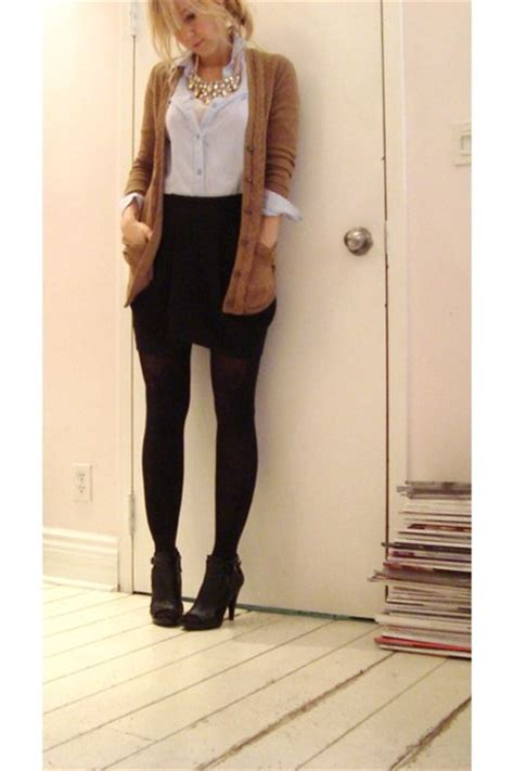 black skirts beige loh sweaters blue shirts black nine
