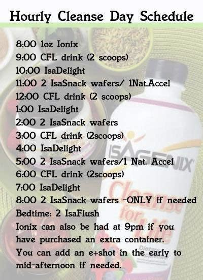 11 Day Detox Isagenix by Hourly Cleanse Day Schedule Isagenix Cleanseforlife