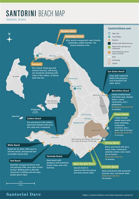 santorini beaches beach map updated