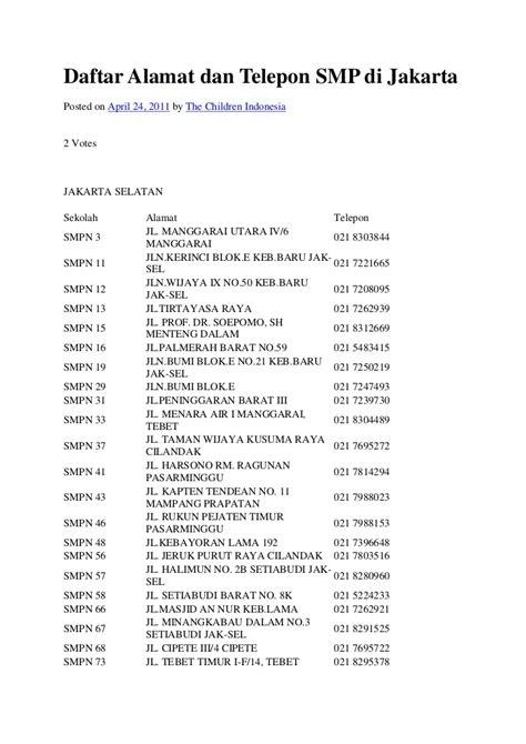 daftar alamat dan telepon smp di jakarta