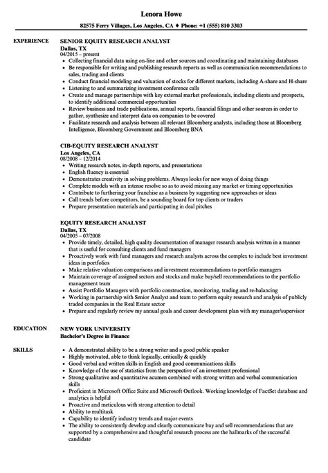 Equity Research Resume by Equity Research Analyst Resume Sles Velvet