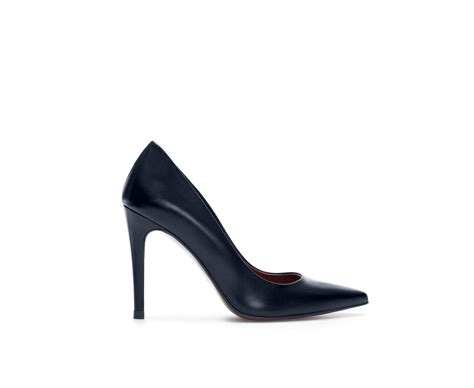 zara basic high heel leather court shoe in black lyst