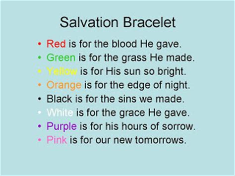 salvation bracelet color meaning deer park grace united methodist church