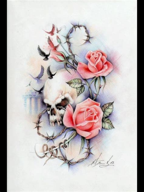 morphed skull intertwined within roses tattoo props