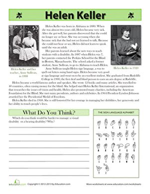 Helen Keller Biography Worksheet | helen keller biography worksheet education com