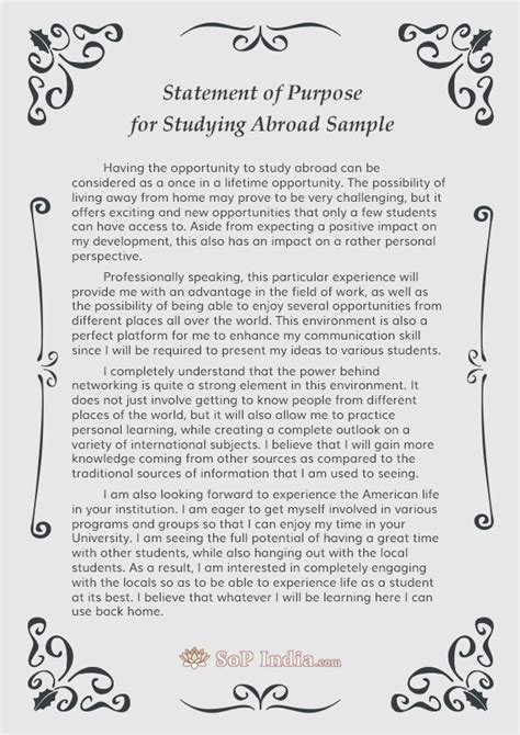 Scholarship For Study Abroad Mba by Statement Of Purpose For Studying Abroad Sle By