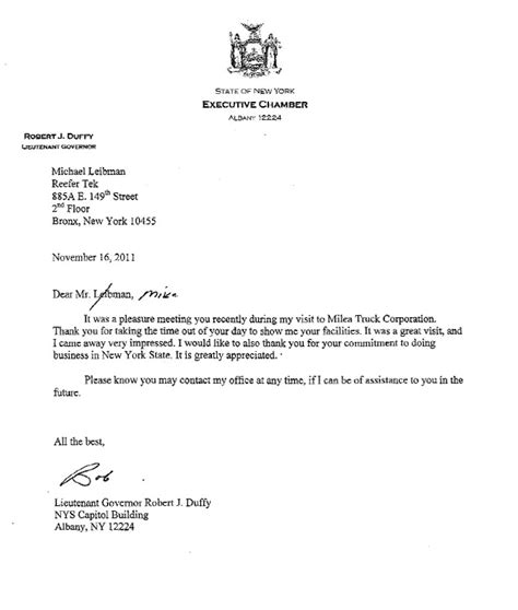 thank you letter after meeting visit nys lieutenant governor robert duffy tours reefertek