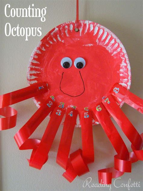 paper plate octopus craft clothespin counting octopus from reading confetti paper