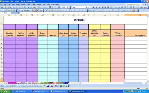 spreadsheet for ebay sellers ebay spreadsheet template