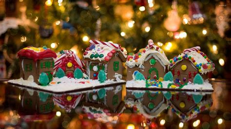 christmas wallpaper gingerbread gingerbread houses in front of the christmas tree
