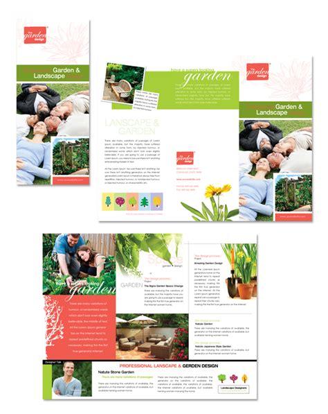 garden landscape design tri fold brochure template