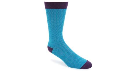 Blue Pattern Socks | ted baker crosser geometric pattern socks in blue for