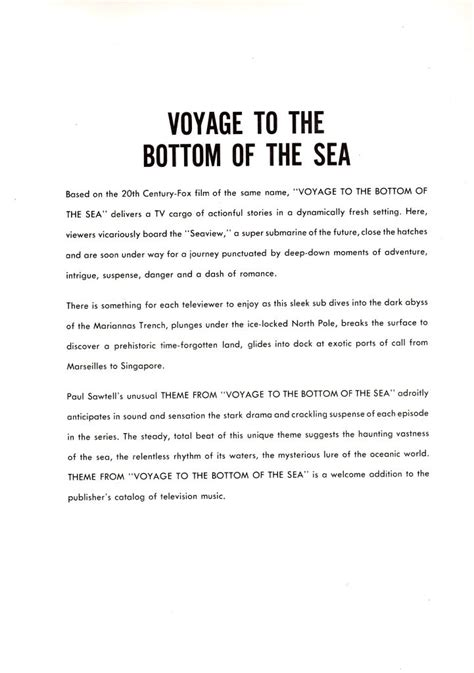 theme song voyage to the bottom of the sea voyage tv musical theme program
