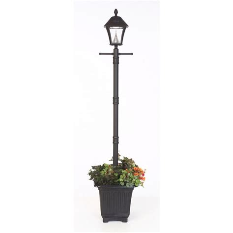 Sunergy Solar L Post With Planter Base by Design House Black L Post With Cross Arm And Electrical