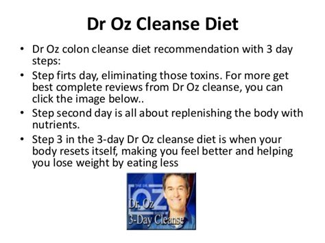 Is Dr Oz S Detox Diet For You by 3 Days Cleanse Diet Deluxeposts