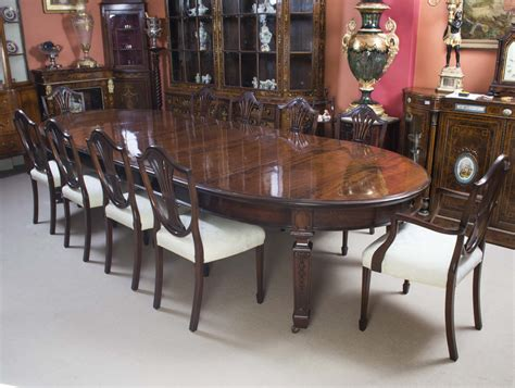Antique 12ft 6 Quot Edwardian Dining Table 10 Chairs C 1900 Dining Table Set For 10