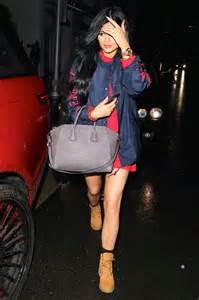 Kylie jenner timberland boots dress jacket givenchy purse