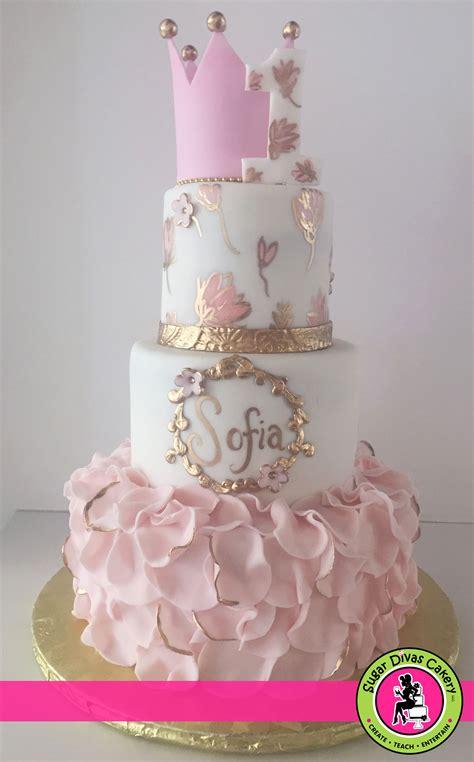 pink painted flowers gold  crown sugar divas cakery