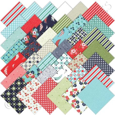 Moda Quilt Fabric by Moda Daysail Charm Pack Emerald City Fabrics