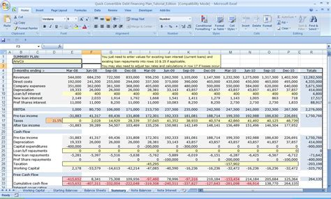 business plan financial template excel excel three year flow plan