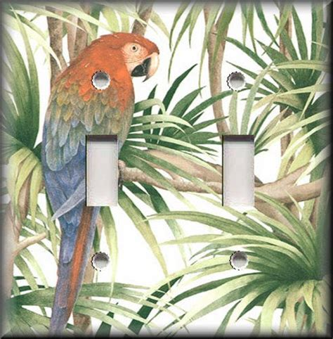 light switch plate cover colorful tropical parrot bird