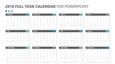 2018 Full Year Calendar For Powerpoint Pslides Powerpoint Calendar Template 2018