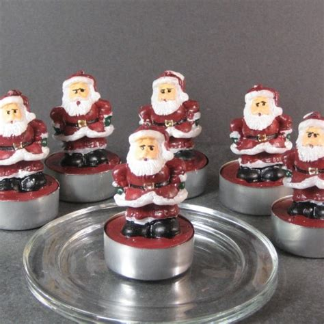 pack of 6 father christmas tea light candles