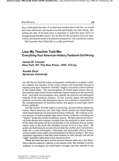 (PDF) Book Review: Lies My Teacher Told Me: Everything