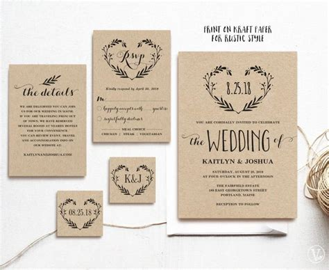 wedding invitation editable template rustic wedding invitation template printable invitations