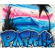 Airbrushed Beach Scene Graffiti Name Personalized T Shirt 23 99