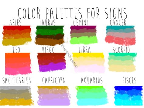 colors of the zodiac color palettes for zodiac signs by redhotchillipeppers on deviantart