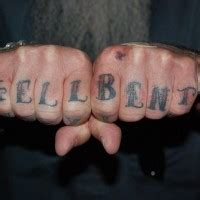 hellbent tattoos knuckle hell bent big designed letters