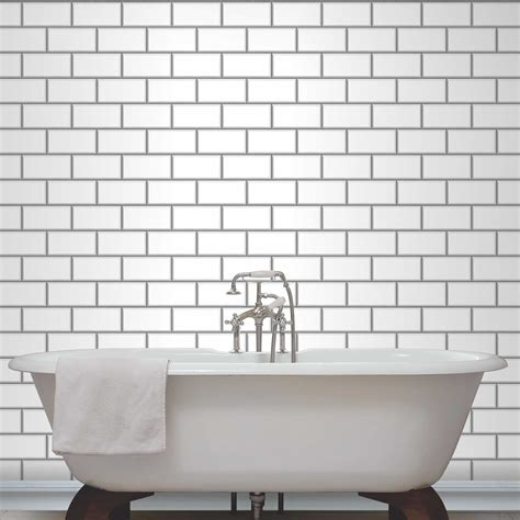 bathroom wallpaper tile effect fine decor subway tile effect wallpaper black white