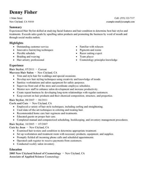 hair stylist resume objective resume stylists resume and hair
