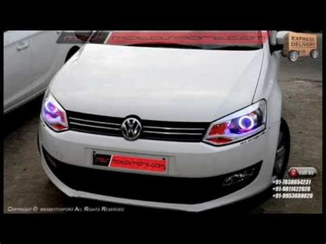 volkswagen polo headlights modified v499 shark eye projector headlights drl daytime running