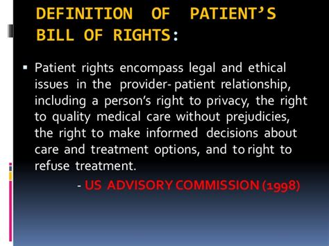 right meaning patient rights ppt