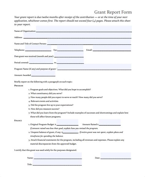 9 Sle Grant Report Forms Sle Templates Grant Report Template