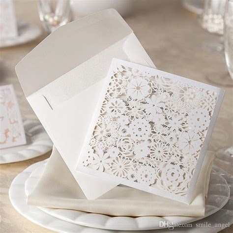 Wedding Invitation Card Di Jakarta by 2015 New Wedding Invitations Card White Lace Flora Laser